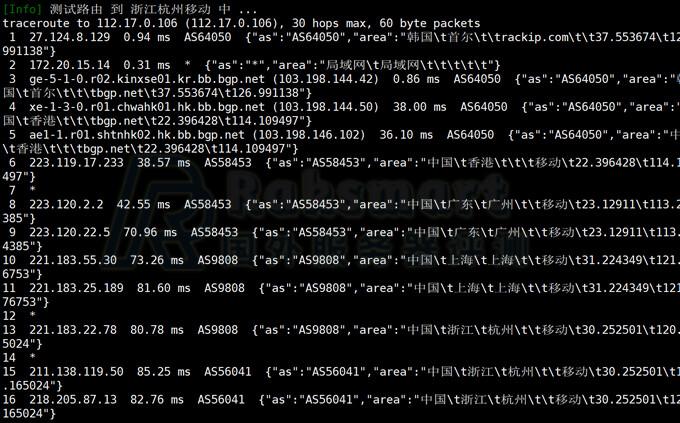 Raksmart韩国服务器回程线路测试