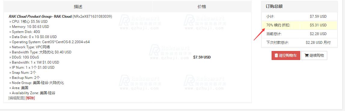 RAKsmart美国云服务器3折优惠购买教程